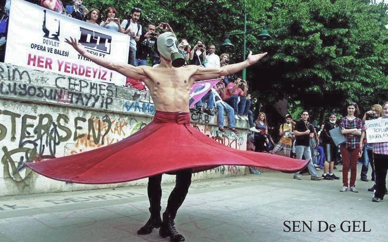 Whirling Sufi protester
